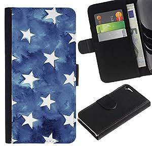 TORNADOCOVER Diseño Trasera Imagen Cuero Voltear Tarjeta Ranura Duro Funda Negro Borde Carcasa Case Cover Skin para Smartphone Apple Iphone 5 5S - estrellas rayas EE.UU. azul bandera americana