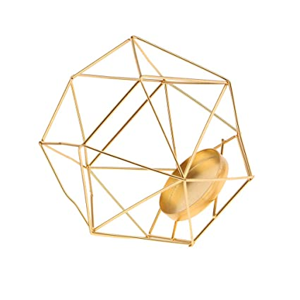 21bf4a7f27 Image Unavailable. Image not available for. Color: B Blesiya Industrial Iron  Wire 3D Geometric Glass Tealight Candle Holder Wedding ...