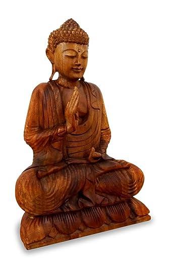 livasia ruheausstrahlender buddha aus holz skulptur buddhismus statue dekofigur holzskulptur aus bali