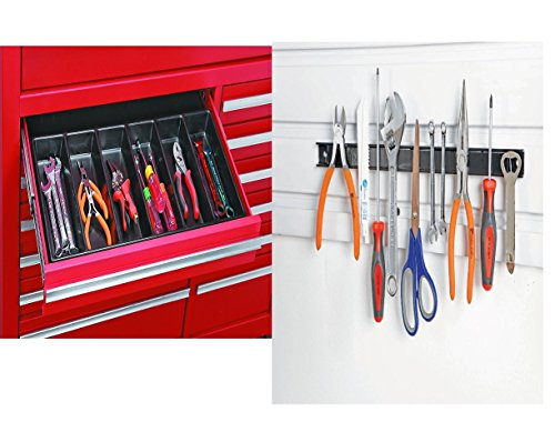 US General 99729 6 Compartment Drawer Organizer for Tools, Nails, Screws, Tackle Bundle with 18 in. Metal Magnetic Tool Storage Organizer Holder