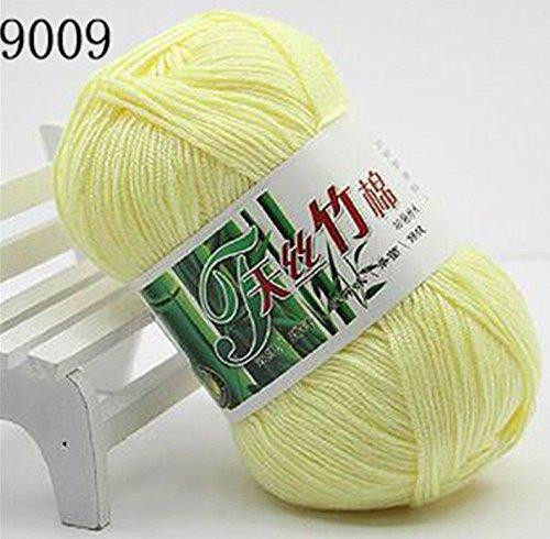 Set of 10 Skein Natural Select Soft Tencel Yarn 70% Bamboo + 30% Egyptian Cotton Crochet 50g Baby Knit Wool Yarn (Milk Yellow 9009)