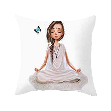 Amazon.com: Fxbar, Cute Gire Yoga Imagine Pillow coverc ...