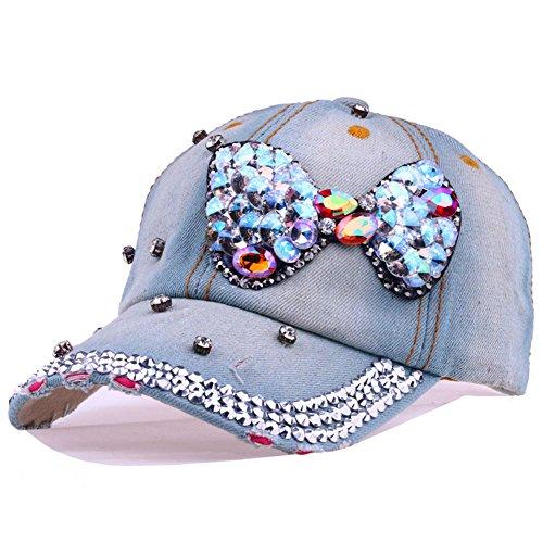 CRUOXIBB Bowknot Baseball Cap Women Colorful Crystal Rhinestone Snapback Caps Bling Denim Hat (#1 ()