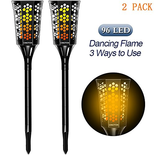 CINOTON Solar Tiki Torches Upgraded,solar flame torch lights outdoor, Landscape Decoration Lighting, Dusk to Dawn Security Warm Light, for Garden Patio Deck Yard Driveway (2 PACK) by CINOTON