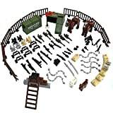 custom guns - LZH Custom Military Army Weapons and Accessories Set Compatile with Major Brand Weapons Accessories - Hats,Weapons,War Horse,Sandbags, Dog ,Modern Assault Pack Military Building Blocks Toy