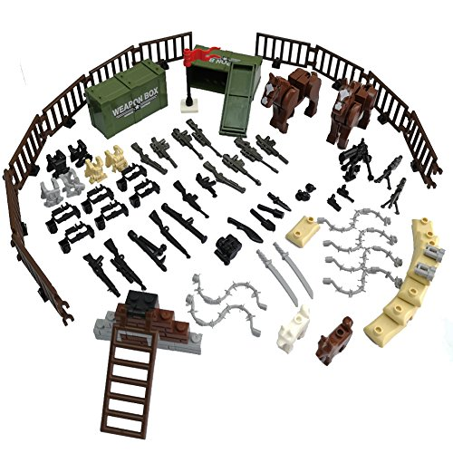 LZH Custom Military Army Weapons and Accessories Set Compatile with Major Brand Weapons Accessories - Hats,Weapons,War Horse,Sandbags, Dog ,Modern Assault Pack Military Building Blocks Toy