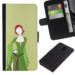 Paccase / Billetera de Cuero Caso del tirón Titular de la tarjeta Carcasa Funda para - green medieval dress redhead girl spooky - Samsung Galaxy Note 4 SM-N910
