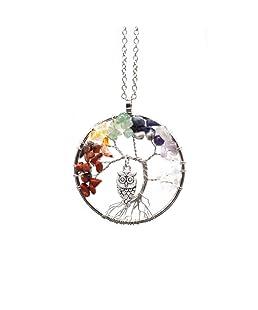 aiuin–Collana da Donna alla moda collana gufo albero della vita anhaengerit cristalli Idea Regalo per Ragazza Donna Gioielli, con una borsa