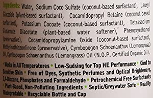 Earth Friendly Products ECOS 4x Concentrated Detergent With Built-In Softener, Lemongrass, 50 HE Loads, 25 Ounce