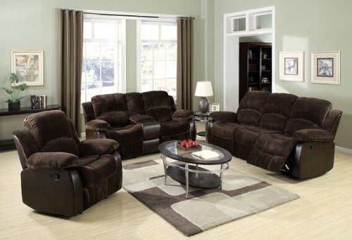 3 pc Masaccio collection two tone Brown champion microfiber and leather like vinyl upholstered motion sofa , love seat and recliner with recliner ends