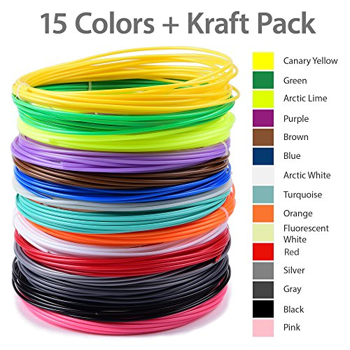 15 charming colors. 300ft 3D Pen Filament Refills. BONUS GLOW IN THE DARK COLOR INCLUDED - 1.75mm ABS. PURE. COLORFUL. FUN. INSIDE.