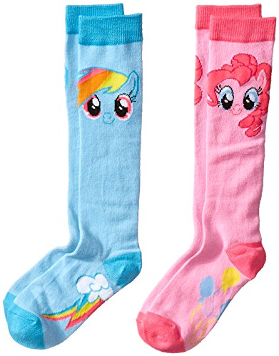 High Point Little Girls' My Little Pony Knee High Socks- Blue/Pink, Assorted, 6-8.5 (Pack of -