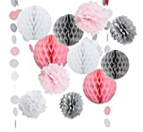 14PCS Pink Gray White Decorative Party Paper Pack Pompoms Flower Honeycomb Ball Circle Paper Garland Girl Birthday Baby Shower Wedding Decoration Favour