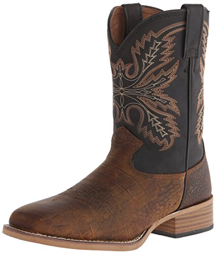 Justin Kids Boy's 380JR (Toddler/Little Kid/Big Kid) Brown/Black Top Boot 11 Little Kid M -