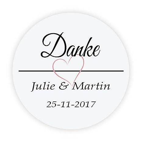 48x Personalisiert Hochzeitssticker Hochzeit Danke Aufkleber 4 Cm Runde Papieraufkleber Etiketten Für Die