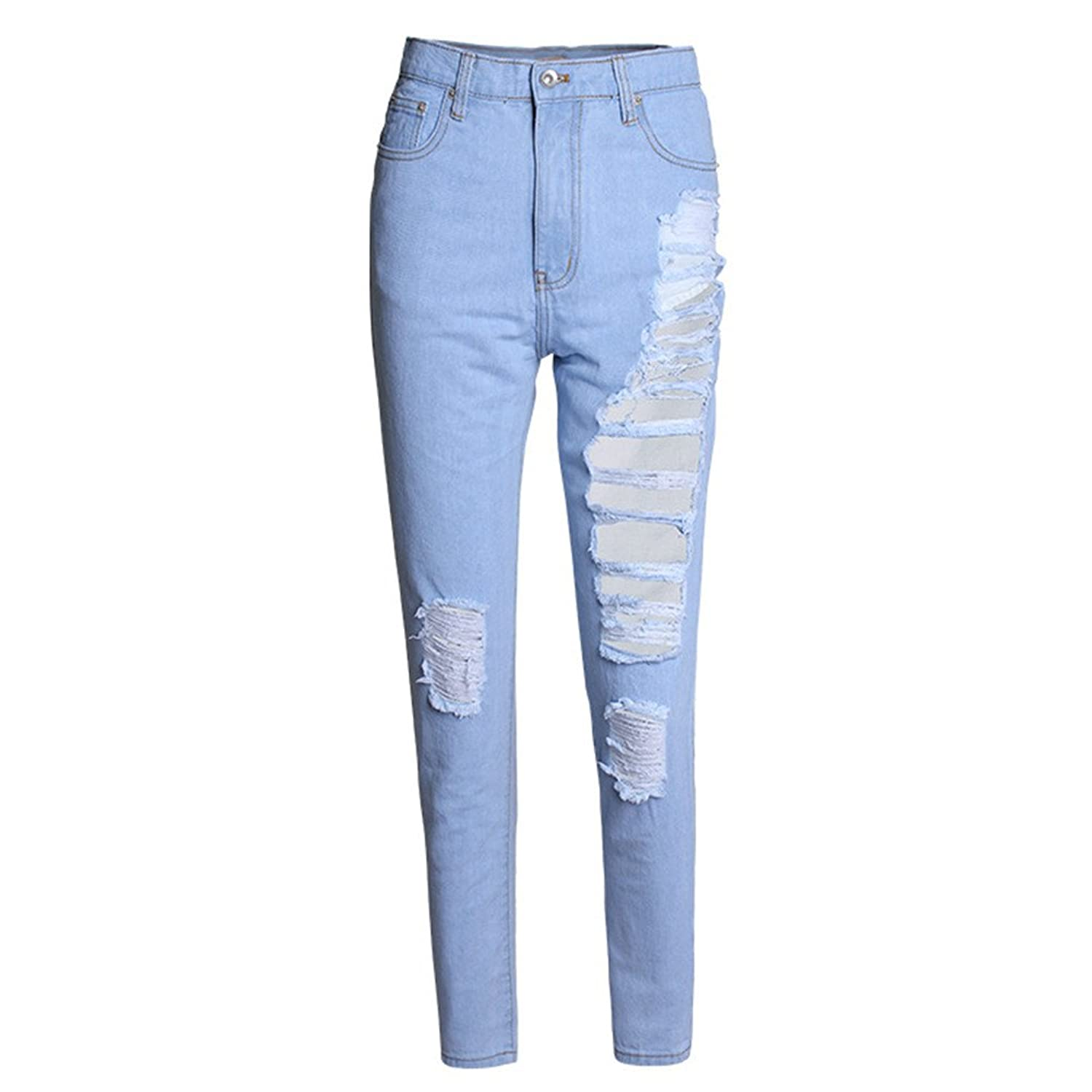 Womens Fashion Cool Destroyed Hole Jeans Ripped Washed Pants Denim Trousers