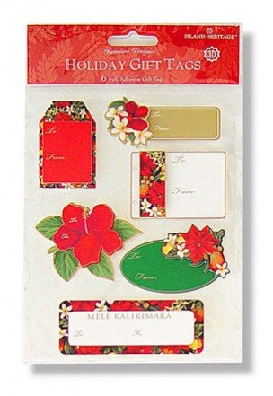 Hawaiian Christmas Harvest 3D Adhesive Holiday Gift Tags by Island Heritage