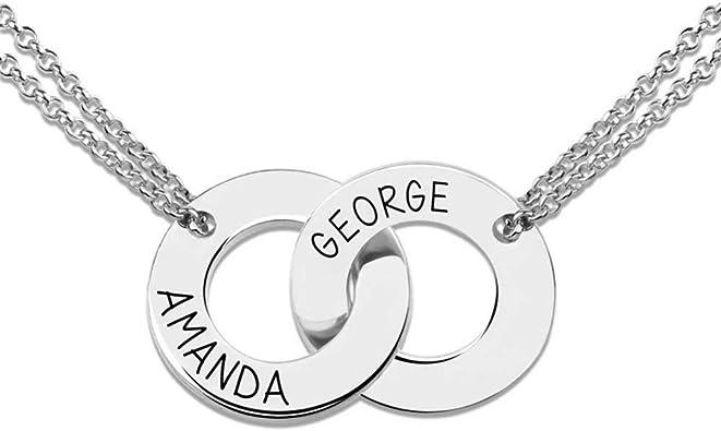 collier en argent avec deux anneaux