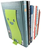 Happy Face Wavy Non-Skid Metal Bookend 8 x 3.7 Inches Neon Green with Black Cat Page Holder Bookmark (Bundle of 3)