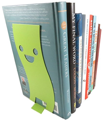 Happy Face Wavy Non-Skid Metal Bookend 8 x 3.7 Inches Neon Green With Black Cat Page Holder Bookmark (Bundle of 3) by Daiso Japan