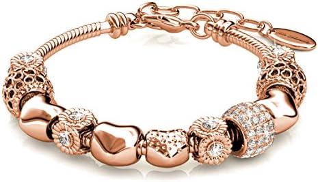 Women Bracelet Unique Rose Gold Crystal Charm Bracelet Beads Braceletd Bangle 11 19cm