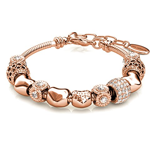Alaxy Bangle Bracelets Made with Swarovski Crystal, Charm Beaded Bracelets for Teens Girls and Women Size 19cm (7.48'') - 22cm (8.6'') (Rose Gold)