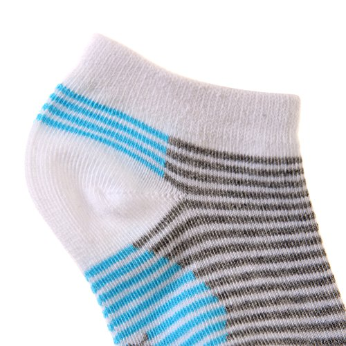 Eocom 5 Pack Kids Boy Striped Low Cut Cotton Soft Cute Breathable Socks (White, 6-9 Years) by Eocom (Image #5)