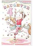 Daughter 4th Birthday Card - Girl on Carousel Horse GR