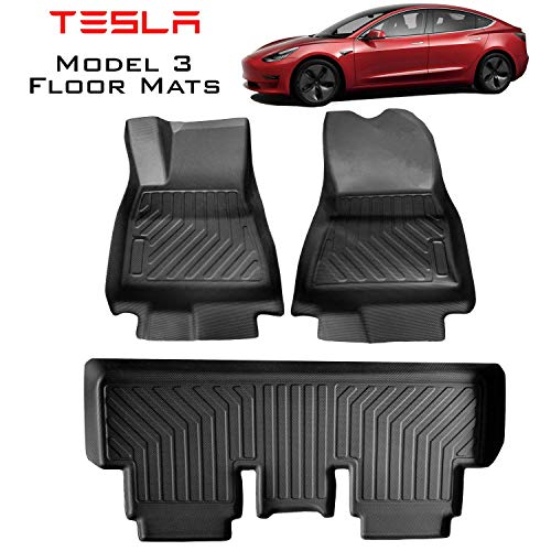 Homeland Hardware Tesla Model 3 Floor Mats Liners B07RRDNZ59 Complete Set in Black for All Models All-Weather 3D Multi-Layer Custom Laser Cut Kagu 3DHDMAX Series Non Slip