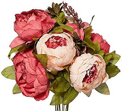 Leagel Fake Flowers Vintage Artificial Peony Silk Flowers Bouquet Wedding Home Decoration, Pack of 1