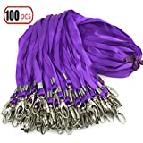 Plurple Lanyard Bulk Clip Swivel Hooks Nylon Neck Flat Lanyard with Clips Durably Woven Purple Badge lanyards with Clip Purple lanyards for id Badges, lanyards 100Pack 32-inch (100, plurple)