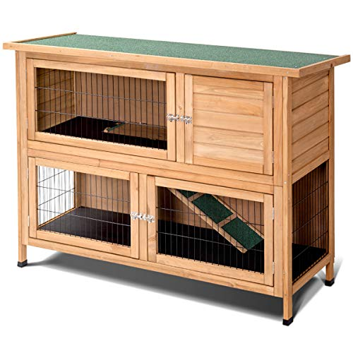 Tangkula 52'' Rabbit Hutch, Outdoor Garden Backyard Poultry House, Wooden Hen House/Wood Chicken Coop, Bunny Rabbit Hutch (Double-Layered)