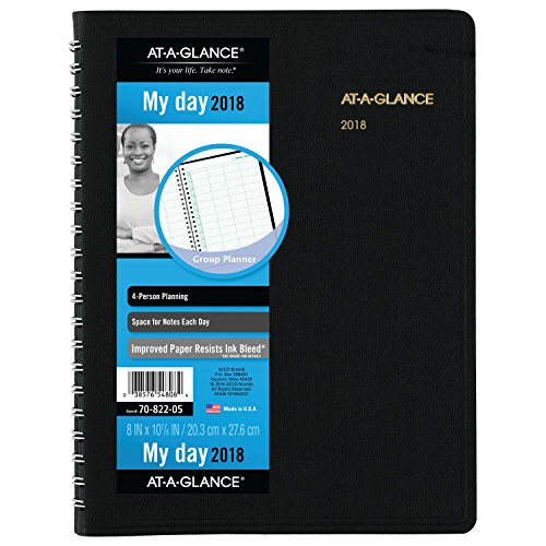 """AT-A-GLANCE Daily Appointment Book, January 2018 - December 2018, 8"""" x 10-7/8"""", Four Person Group, Black (7082205)"""