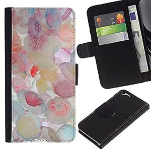 Delicado Arte Pintura Rosa Blanco- la tarjeta de Crédito Slots PU Funda de cuero Monedero caso cubierta de piel Para Apple (4.7 inches!!!) iPhone 6 / 6S