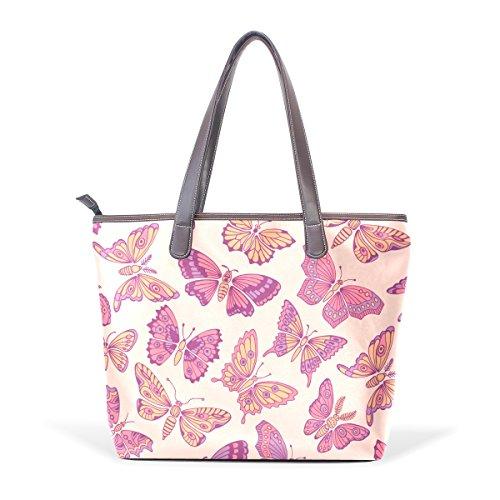 Coosun Butterflies Handle Large Bag Leather Shoulder Tote Bag Hand Pu M (40x29x9) Cm Multicolor # 001
