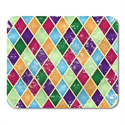 "Price comparison product image Nakamela Mouse Pads Brushed Colorful Aged Abstract Harlequin Pattern Digital with Vintage Antique Cool Mouse mats 9.5"" x 7.9"" Mouse pad"