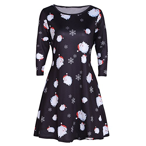 COOKI Women Christmas Xmas Printed Party Tunic Dress Casual Long Sleeve Flared A Line Dress Pullover Casual Dress