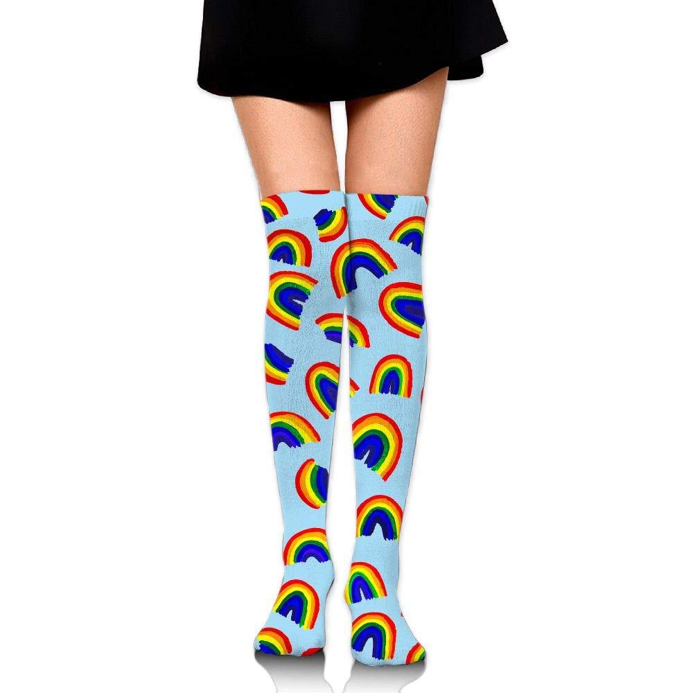 High Elasticity Girl Cotton Knee High Socks Uniform Rainbow Pattern Women Tube Socks