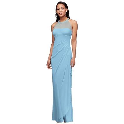 Review David's Bridal Sleeveless Long Mesh Bridesmaid Dress with Illusion Neckline Style F15662