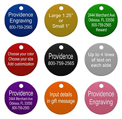 Providence Engraving Pet ID Tags | 8 Shapes & Colors to Choose From | Dog Cat Aluminum from Providence Engraving