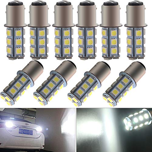 EverBright 10-Pack Extremely Bright White 1157 Led Bulb, BAY15D 1016 1034 7528 2057 LED Bulb Replacement for Car Bulb Tail Brake Light Bulb Backup Reverse Lamp Side Marker Lights, 5050 18-SMD, DC 12V