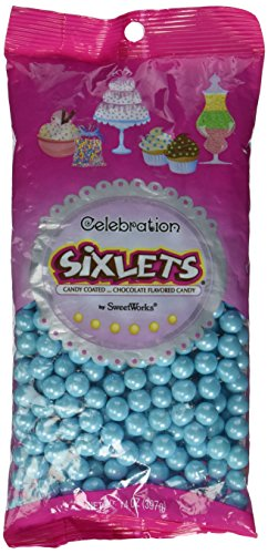 Sweetworks Celebrations Candy Sixlets Shimmer Bag, 14 oz, Powder Blue (Soy Milk Costume)