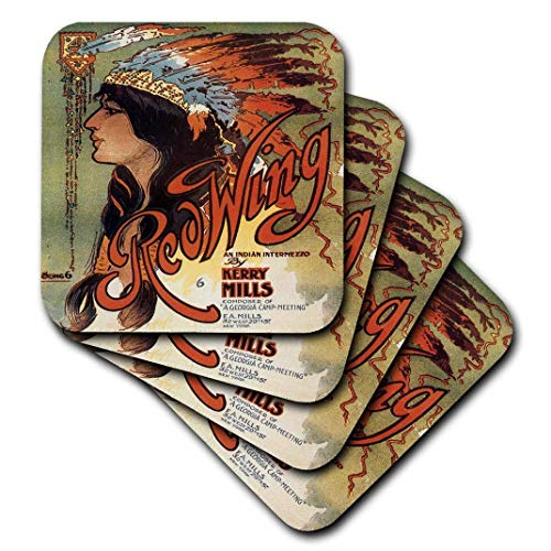3dRose CST_169969_3 Ogallala Indian Love Song, Native American Woman and Cowboy On Horses-Ceramic Tile Coasters, Set of - American Ceramic Tile
