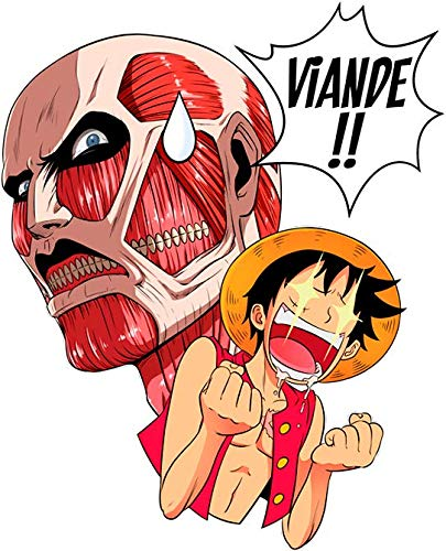 parodie Titanesque Noir Titans Luffy Des shirts One Parodique Titan Attaque Colossal Titans Vs T Piece Steak OB764xq