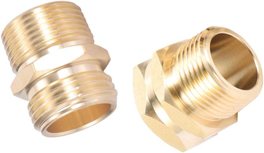 """ZKZX Garden Hose Adapter,3/4"""" GHT Male x 3/4"""" NPT Male Connector with 3/4"""" GHT Female x 3/4"""" NPT Male Connector,Brass Pipe to Garden Hose Fitting Connect (3/4NPT Couple)"""