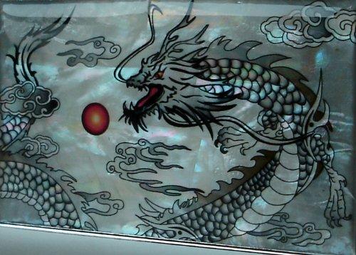 Antique Alive Mother of Pearl Black Dragon Design Men's Engraved Metal Cigarette Holder Case
