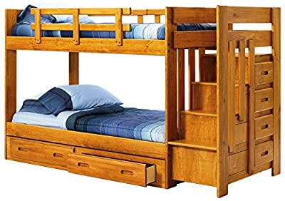 Twin Over Twin Bunk Bed with Reversible Staircase 680050