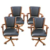Hathaway Kingston Oak Poker Table Arm Chair - Set of 4