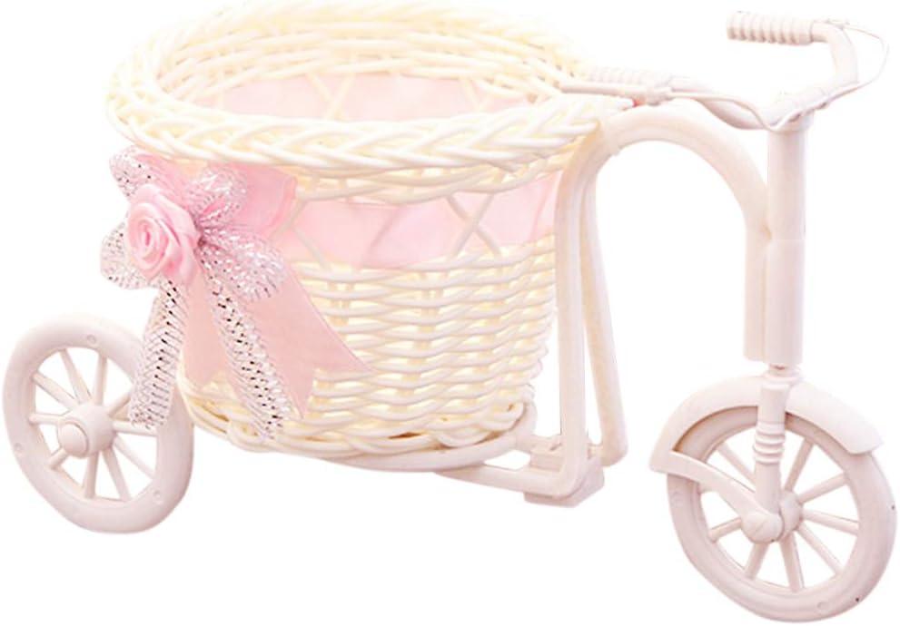 GFCGFGDRG Triciclo en Forma de Ceremonia de Fiesta de la Boda Cesta de la Flor Flor de la decoración de Bicicletas contenedor de Almacenamiento, Rosa