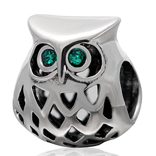 Silver Owl Beads (Openwork Owl Charm with Crystal Charm 925 Sterling Silver Animal Charm Bird Charm Wisdom Charm for Bracelet)